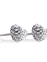 925 Sterling Silver CZ Stone Heart Shape Earring Studs