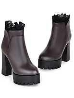 Women's Shoes Leatherette Chunky Heel Combat Boots Boots Casual Black / Brown / White