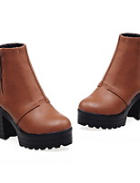 Women's Shoes Leatherette Chunky Heel Round Toe Boots Casual Black / Yellow / Gray