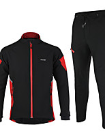 Arsuxeo Men's Fleece Winter Thermal Bicycle Cycling Suits Windproof Soft Shell Jacket and Pants