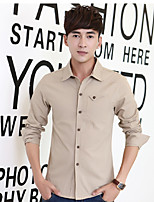 Men's Long Sleeve Shirt  Cotton  Lycra Casual  Work Pure