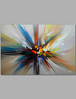 Ready to hang Stretched Hand-Painted Oil Painting on Canvas Wall Art Abstract Contempory Blue Orange One Panel