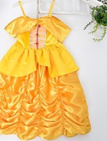 Girl's Yellow Dress , Dresswear Satin All Seasons
