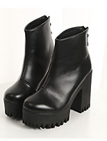 Women's Shoes  Chunky Heel Round Toe Boots Casual Black