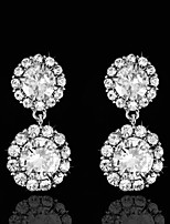 Vintage Women's  Earrings Zircon Diamond  Silver Earring For Wedding Bridal