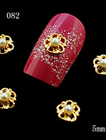 10pcs 3D Nail Alloy Decoration Glitter Rhinestone Golden Flower with a Pearl Nail Art Stud Manicure Nail Tool 5mm