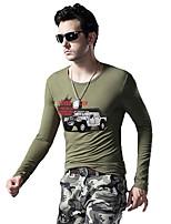 Tee-Shirt Décontracté / Sport Pour des hommes Manches longues Couleur plaine Coton / Elastique