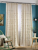 (Two Panels)Modern Leaf Embroidered Linen/Cotton Blend Energy Saving Curtain(Sheer Not Included)