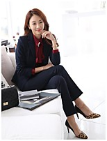Women's Solid Blue / Black Blazer , Work Deep V Long Sleeve