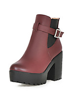 Women's Shoes Leatherette Chunky Heel Round Toe Boots Casual Brown / Beige / Burgundy