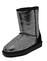 Women's Shoes Leather Platform Snow Boots / Round Toe Boots Outdoor / Casual Black / Silver