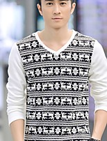 Men's Sleeve Length Tops Type , V neck Print Sleeve Cotton Blend Casual Striped