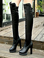 Women's Shoes Stiletto Heel Fashion Boots / Round Toe Boots Party & Evening / Dress / Casual Black