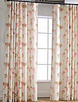 linnen fel-gekleurde bloem afdrukken gordijn (twee paneel)