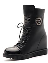 Chaussures Femme - Bureau & Travail / Décontracté - Noir / Rouge - Talon Plat - Rangers / Bottes à la Mode - Bottes - Similicuir