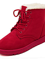Women's Shoes Suede Flat Heel Round Toe Boots Casual Black / Brown / Red / Burgundy
