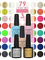 LANDLE  Soak Off UV Nail Gel 79 Color Gel LED Manicure Gel(3  vase)Random Color[Base And Top Coat]