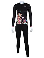 PaladinSport Women's Spring and Summer and Autumn Style 100% Polyester Night Flower Long Sleeved Cycling Suits