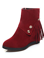 Women's Shoes Leatherette Wedge Heel Wedges / Fashion Boots Boots Casual Black / Yellow / Red