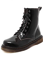 Women's Shoes Patent Leather Chunky Heel Combat Boots / Round Toe Boots Outdoor / Casual Black