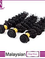 paquetes profunda malasia onda virginal del pelo de la onda 3pcs profunda sin procesar tramas de cabello humano