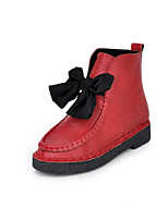 Women's Shoes Leatherette Low Heel Round Toe Boots Casual Black / Brown / Red