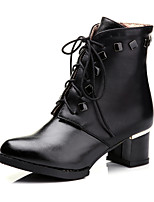 Women's Shoes Leatherette Chunky Heel Round Toe Boots Casual Black / Red / White