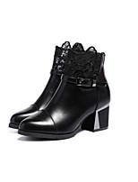 Zapatos de mujer - Tacón Robusto - Botas Anfibias - Botas - Vestido / Casual / Fiesta y Noche - Cuero - Negro / Bermellón