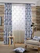 (dois painéis) moderno cortina de poupança de energia edifício impresso poliéster (pura não incluídas)