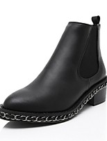 Women's Shoes Leather Chunky Heel Combat Boots / Round Toe Boots Outdoor / Casual Black