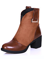 Women's Shoes Leatherette Chunky Heel / Round Toe Boots Outdoor / Office & Career / Casual Black / Yellow / Burgundy