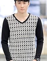 Tee-Shirt Décontracté Pour des hommes Manches longues A Motifs Mélange de Coton