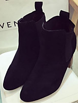 Women's Shoes Suede Chunky Heel Closed Toe Boots Casual Black / Khaki