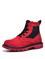 Women's Shoes Leather Flat Heel Cowboy / Western Boots Boots Outdoor / Athletic / Casual Red / Beige