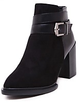 Women's Shoes Chunky Heel Pointed Toe / Closed Toe Boots Office & Career / Dress / Casual Black