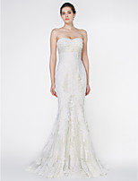 Lan Ting - Trumpet/Mermaid Wedding Dress - Ivory Court Train Strapless Lace