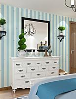 Home Decor Art White&Blue Stripe Star Wallpaper Wall Covering PVC Wall Paper 10*0.45 M