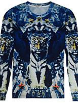 CliffWalker Men's fashion tiger design 3 d digital printing round neck long sleeve T-shirt