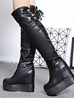 Women's Shoes Wedge Heel Fashion Boots / Round Toe Boots Party & Evening / Dress / Casual Black / White