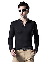 Men's Long Sleeve Slim T-Shirt , Stand Collar Cotton / Spandex Casual / Sport / Plus Sizes Pure