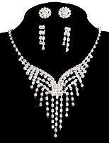 2 Pairs of Rhinestone Earrings with Wedding Party Jewelry Sets Pendant Necklace Ring Bracelet Drop Earrings Stud Sets