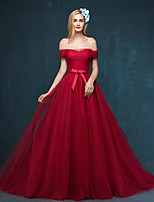 Formal Evening Dress - Burgundy / Silver A-line Off-the-shoulder Sweep/Brush Train Tulle