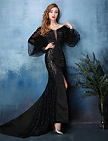 Formal Evening Dress - Black Trumpet/Mermaid V-neck Court Train Lace / Satin Chiffon