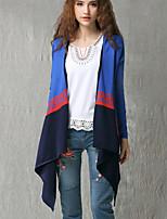 Women's Patchwork / Color Block Blue / Black Shrug , Vintage Long Sleeve