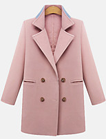 Women's Solid Blue / Pink Coat , Casual Long Sleeve Cotton Blends