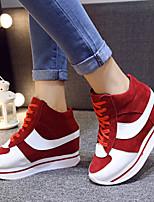 Scarpe Donna - Sneakers alla moda - Tempo libero / Casual - Comoda / Punta arrotondata / Chiusa - Zeppa - Poliestere - Nero / Rosso