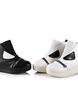 Chaussures Femme - Décontracté - Noir / Blanc - Plateforme - Rangers - Bottes - Similicuir