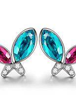 925 Sterling Silver Sparkling CZ Stone Butterfly Earring Studs