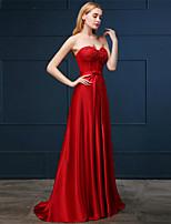 Vestito - Rosso Sera Trapezio Cuore Sweep / treno pennello Chiffon