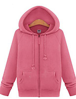 Women's Solid Pink / Gray Hoodies , Casual / Plus Sizes Hooded Long Sleeve